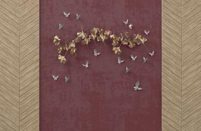 3D Ковер «Серебрянные птички над золотыми зонтиками»