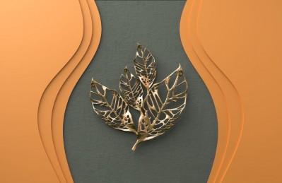 3D Ковер «Объемная стена с золотыми листьями»