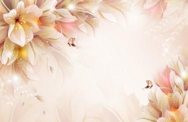 3D Ковер «Волшебные цветы с бабочками»