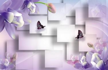 3D Ковер «Сиреневые цветы с бабочками»