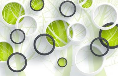 3D Ковер «Объемные зеленые круги»