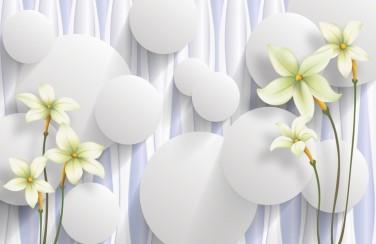 3D Ковер «Нежно-салатовые цветы на объемном фоне»