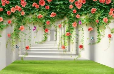 3D Ковер «Тоннель с лианами роз»