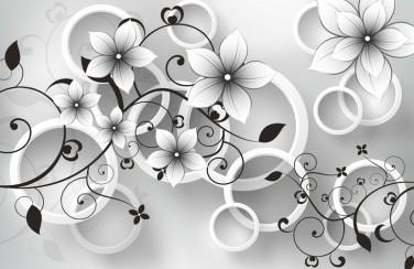 3D Ковер «Серые цветы»