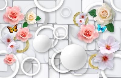3D Ковер «Цветы с золотыми кольцами»