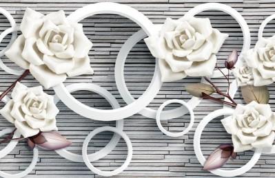 3D Ковер «Цветы на каменной кладке»