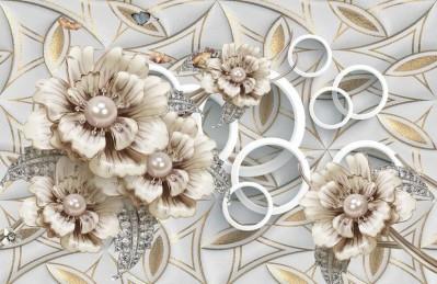 3D Ковер «Цветы на коже с золотыми узорами»