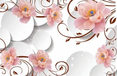 3D Ковер «Цветы с росой на объемном фоне»
