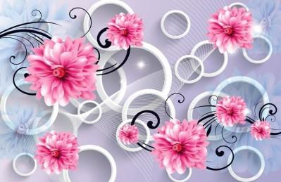 3D Ковер «Хризантемы с яркими акцентами»