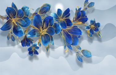 3D Ковер «Роскошная ветвь цвета индиго»