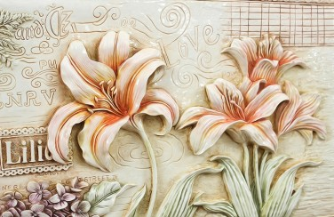 3D Ковер «Лилии под каменную фреску копия»