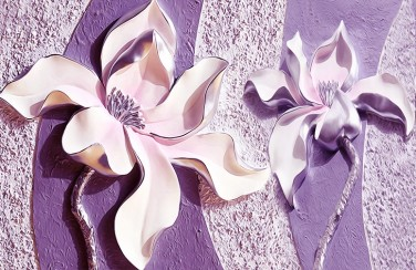 3D Ковер «Фиолетовые магнолии на рельефном фоне»