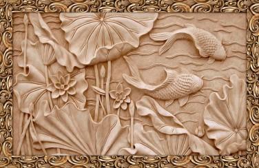 3D Ковер «Резьба по дереву в китайском стиле»