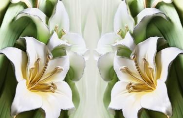 3D Ковер «Зеленые лилии из керамики»
