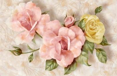 3D Ковер «Объемные розы под мрамор»