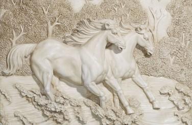 3D Ковер «Лошади на рельефном фоне»