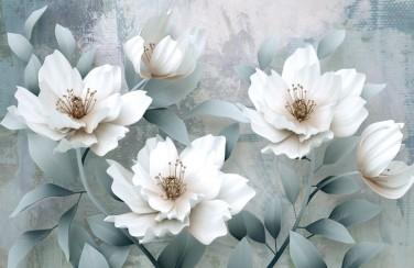 3D Ковер «Благородные белые цветы»