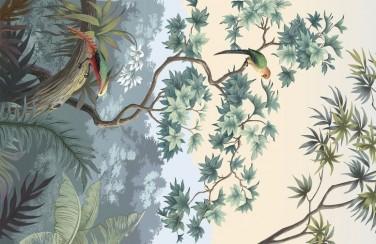 3D Ковер «Пейзаж с экзотическими птицами»