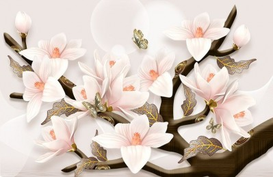 3D Ковер «Шикарная магнолия с бабочками»