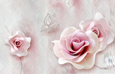 3D Ковер «Розы с ювелирной бабочкой»