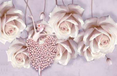 3D Ковер «Танцующая балерина в розах»