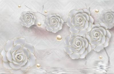 3D Ковер «Нежные керамические цветы с золотом»