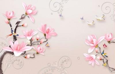 3D Ковер «Серебристые ветви розовых магнолий»