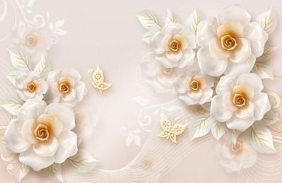 3D Ковер «Объемные цветы из фарфора»
