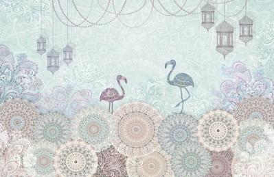 3D Ковер «Фламинго с восточными мотивами в голубых тонах»