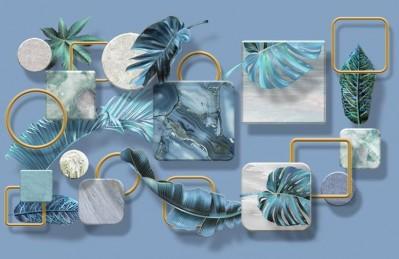 3D Ковер «Листья на мраморных квадратах»