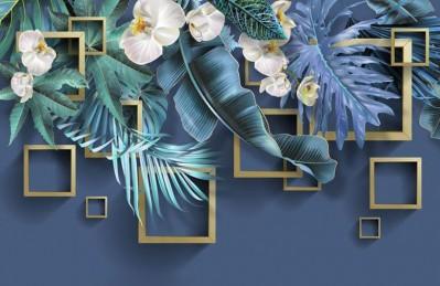 3D Ковер «Дикие орхидеи с золотыми квадратами»