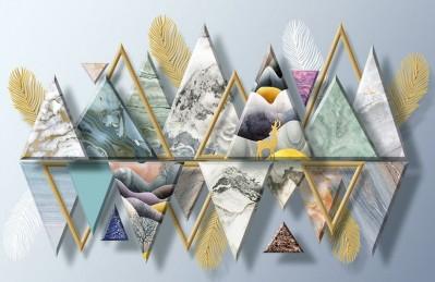 3D Ковер «Золотые перья с мраморными треугольниками»