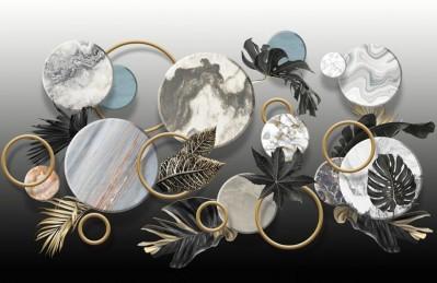 3D Ковер «Золотые листья с мраморными кругами»