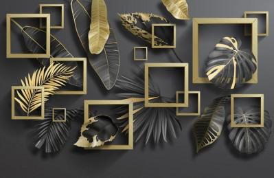 3D Ковер «Листья с золотыми квадратами»