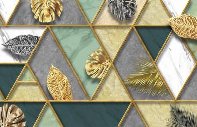 3D Ковер «Геометрическая аппликация с листьями»