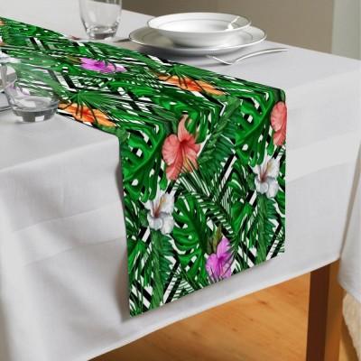 Сервировочная дорожка «Листья папоротника с цветами»