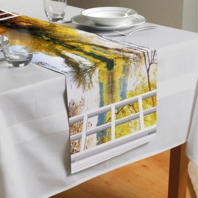 Сервировочная дорожка «Вид из окна на озеро с лебедями»