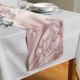 Сервировочная дорожка «Клевер с бриллиантами в нежно-розовых тонах»