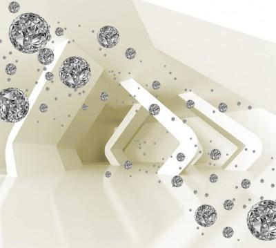Фотошторы «Тоннель с полигональными шарами»