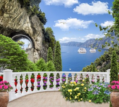 Фотошторы «Античный балкон с видом на парусники в заливе»