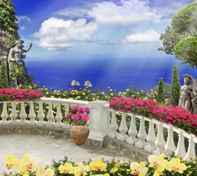 Фотошторы «Античный балкон с видом на синий океан»