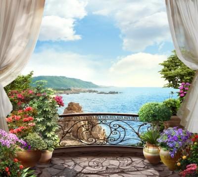 Фотошторы «Балкон на скалистом берегу океана»
