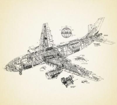 Фотошторы «Самолет чертеж»
