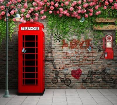 Фотошторы «Телефонная будка с граффити»