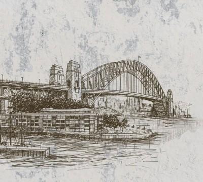 Фотошторы «Эскизный мост на штукатурке»