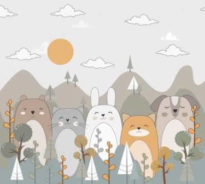 Фотошторы «Милые животные в горах»