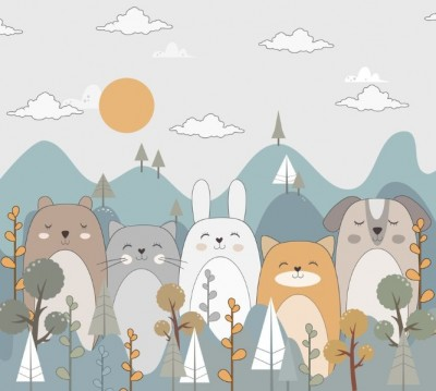 Фотошторы «Бирюзовые горы с животными»