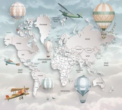 Фотошторы «Объемная детская карта»