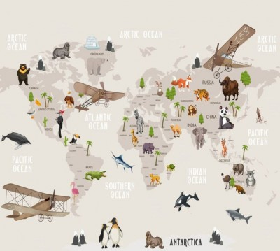 Фотошторы «Солнечная карта на английском»