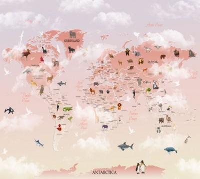 Фотошторы «Розовая карта с животными»